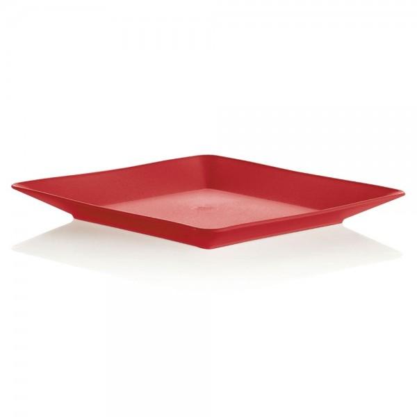 Prato para Lanche Vermelho 17x17 OU Plast
