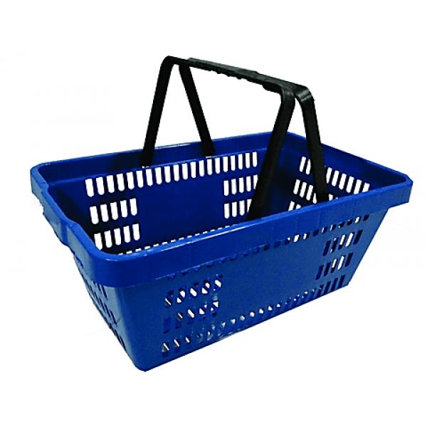 Cesta para feira com alça plástica Azul/Vermelha S600 Plasticomm