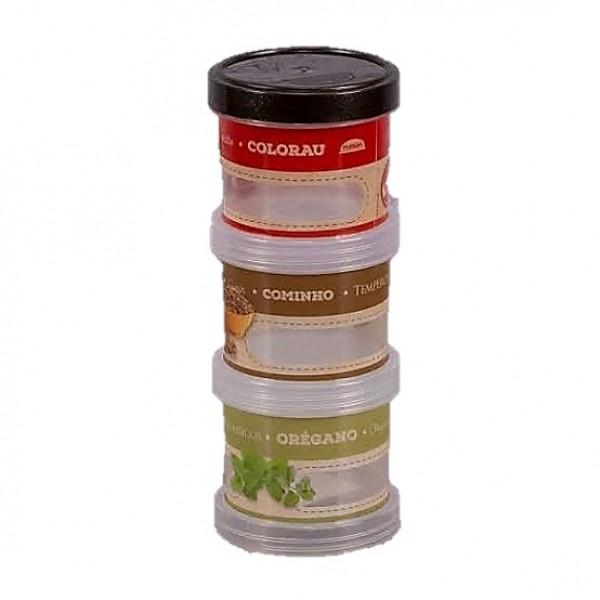 Porta Condimento Rosca 3 peças Plasutil